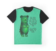 Green Sparkle Anxiety Encouragement Bear Graphic T-Shirt