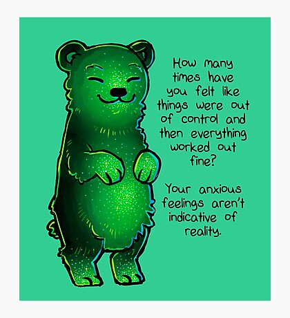 Green Sparkle Anxiety Encouragement Bear Photographic Print