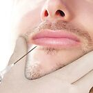 Doctor In glove giving Botox Injection on lips of a man by Bruno Beach