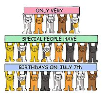 Cartoon cats celebrating July 7th Birthday. by KateTaylor
