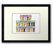 Cartoon cats celebrating July 7th Birthday. Framed Print