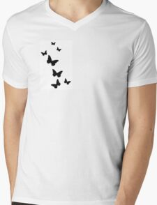 Simple black butterfly phone case Mens V-Neck T-Shirt