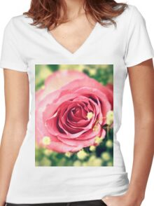 Pink rose Women's Fitted V-Neck T-Shirt