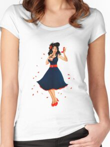 Retro Pinup Autumn Girl Women's Fitted Scoop T-Shirt