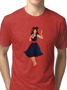 Retro Pinup Autumn Girl Tri-blend T-Shirt