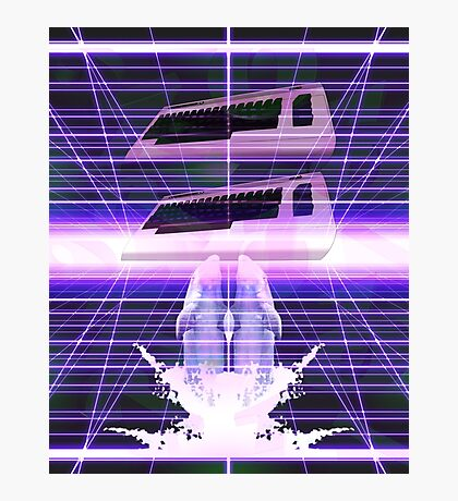 Commodore Dolphin Vaporwave Inspired Design Photographic Print