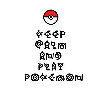 Pokemon - Keep Calm and Play Pokemon Photographic Print