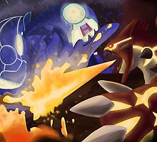 Kyogre and Groudon - New Battle by UmbreoNoctie