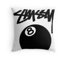 STUSSY HQ. BALL 8 BLACK Throw Pillow