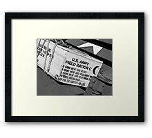 US Army boxed Rations Framed Print