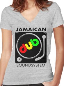 Jamaican Dub SoundSystem Women's Fitted V-Neck T-Shirt
