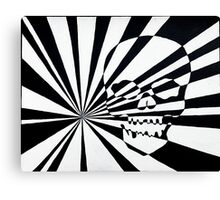 Skull and Rays in Black and White Canvas Print