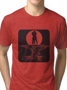 full moon love couple romance island Tri-blend T-Shirt