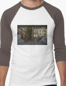 Raindrops, Ripples and Fabulous Reflections of Amsterdam Canal Houses Men's Baseball ¾ T-Shirt