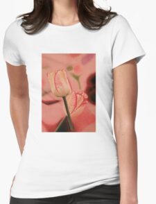 White Tulips With Mauve Stripes Womens Fitted T-Shirt