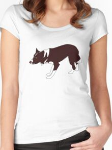 Crouching Border Collie - Red & White Women's Fitted Scoop T-Shirt