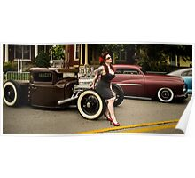 Pin Up and Hot Rods Poster