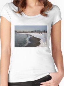 Winter Beach - Lake Ontario, Toronto, Canada Women's Fitted Scoop T-Shirt