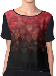 Valentine Bokeh Hearts Shower Chiffon Top