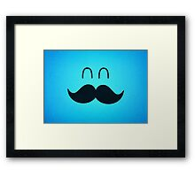 Funny Cute Mustache Face  Framed Print