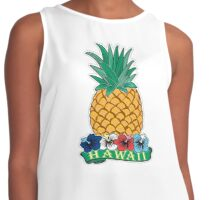 Hawaiian Pineapple wit Flowers Contrast Tank