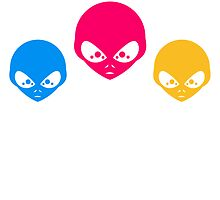 3 colorful alien heads by Style-O-Mat