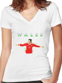 WALES : GARETH BALE Women's Fitted V-Neck T-Shirt