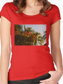 Bougainvilleas and Palm Trees Swaying in the Wind in Waikiki, Honolulu, Hawaii Women's Fitted Scoop T-Shirt