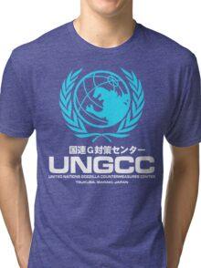 UNGCC GODZILLA VS MECHAGODZILLA Japanese Movie United Nations Godzilla Countermeasures Center JXSDF Tri-blend T-Shirt