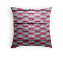 Funny Mustache on Wood Texture #2 Throw Pillow