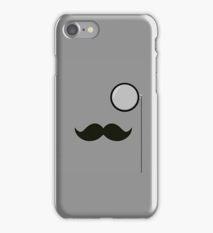 mustache and monacle grey iPhone Case/Skin