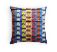 Funny Mustache on Wood Texture #3 Throw Pillow