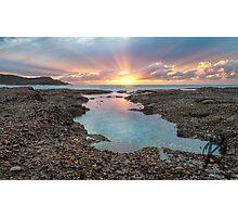 Frazer beach sunrise, sun streaks Photographic Print