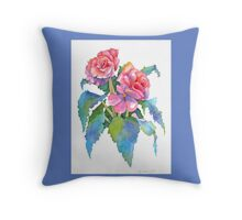 Roseform Begonia Watercolor Throw Pillow (Medium Blue Border) Throw Pillow