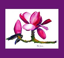 Marwood Spring Magnolia Watercolor Throw Pillow #2 by Pat Yager
