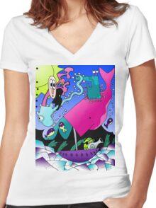 Random Cartoon Vector Art Women's Fitted V-Neck T-Shirt