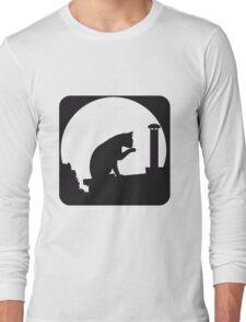 full moon cat roof Long Sleeve T-Shirt
