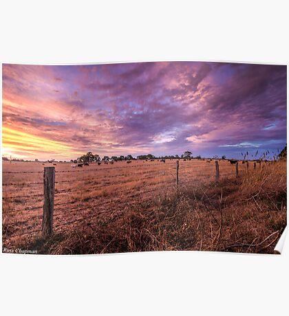 Australian Rural Sunset Poster