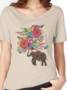 Lucky Elephant & Hummingbirds Women's Relaxed Fit T-Shirt