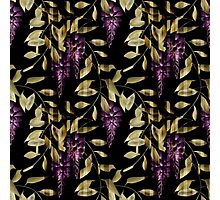 Seamless floral pattern background flowers ornament wallpaper textile Illustration glicinia Photographic Print