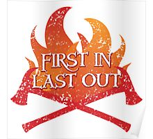 FIREMAN first in last out distressed version Poster