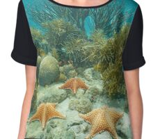 Underwater coral reef starfish and tropical fish Chiffon Top