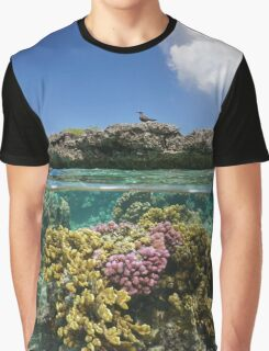 Corals underwater and reef islet with a seabird Graphic T-Shirt