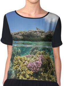 Corals underwater and reef islet with a seabird Chiffon Top