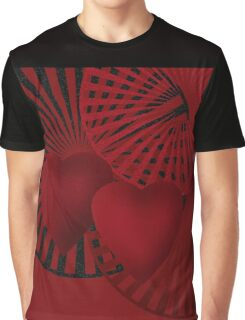 Beautiful modern hearts geometrical ornamental red pattern texture Graphic T-Shirt