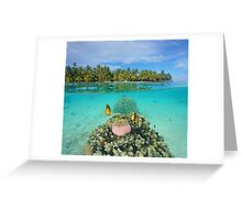 Tropical islet with anemone fish underwater Greeting Card