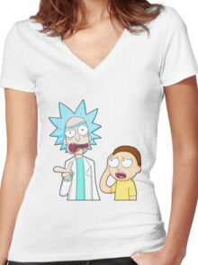 rick n morty Women's Fitted V-Neck T-Shirt