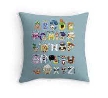 Breakfast Mascot Alphabet Throw Pillow