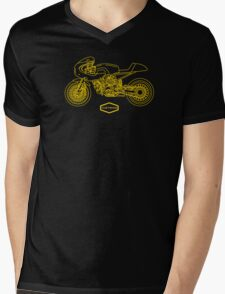 Retro Café Racer Bike - Gold Mens V-Neck T-Shirt