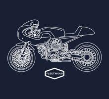 Retro Café Racer Bike - White Kids Clothes
